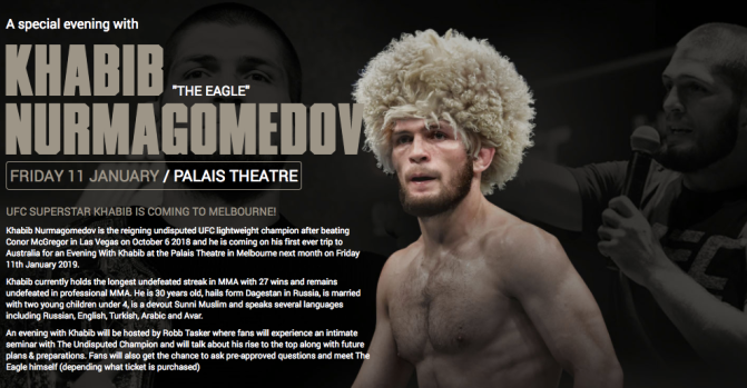 "Khabib ""THE EAGLE"" Nurmagomedov: Palais Theatre, Melbourne – 11 Jan '19"