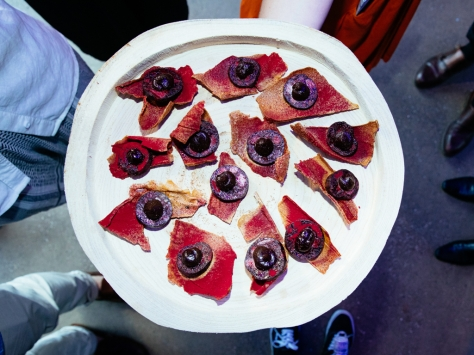 Driftwood Cracker, LPs Smoked Blood Sausage, Pickled Walnut & Beetroot at Launch of White Walker by Johnnie Walker_Bondi Icebergs_Wed 5 Dec_Credit Jack Bennett