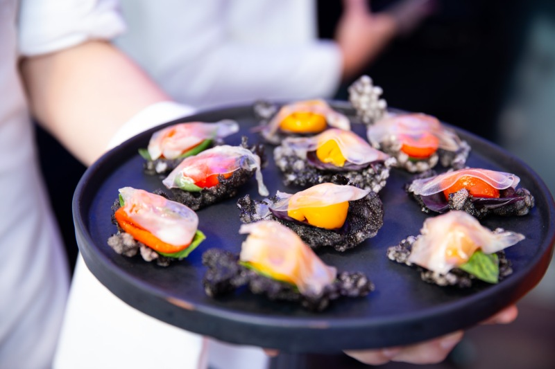 Squid Ink Cracker, Shaved Guanciale, Agrodolce Peppers, Purple Oxalis_White Walker by Johnnie Walker Launch_Wed 5 Dec_Credit Yasmin Mund