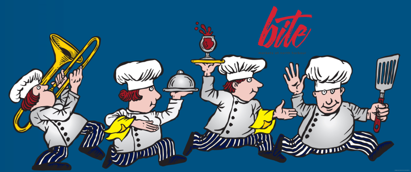 running bite chefs with logo