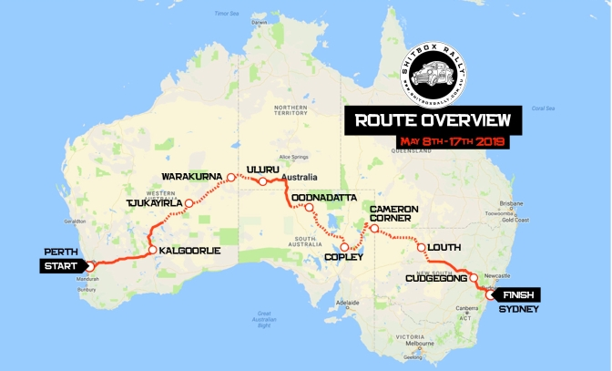 Sh!tbox Rally: 550 people, 5000km, Perth to Sydney via Uluru raising millions of dollars for Cancer Research – 8 May
