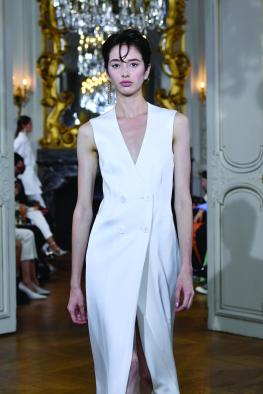 """PARIS, FRANCE - SEPTEMBER 27: A model walks the runway during the Kaviar Gauche""""10 Years Bridal Couture"""" Paris Fashion Week SS20 show as part of Paris Fashion Week on September 27, 2019 in Paris, France. (Photo by Kristy Sparow/Getyty Images for Kaviar Gauche)"""
