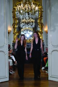 """PARIS, FRANCE - SEPTEMBER 27: Fashion designers Johanna Kuehl and Alexandra Roehler acknowledge the audience during the Kaviar Gauche""""10 Years Bridal Couture"""" Paris Fashion Week SS20 show as part of Paris Fashion Week on September 27, 2019 in Paris, France. (Photo by Kristy Sparow/Getyty Images for Kaviar Gauche)"""