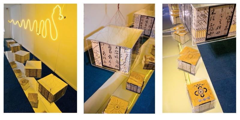 Amy Fu. Dragon Light contrast. Neon, rivet, mirror, carbon paper, paper box, copper wire, plexiglass